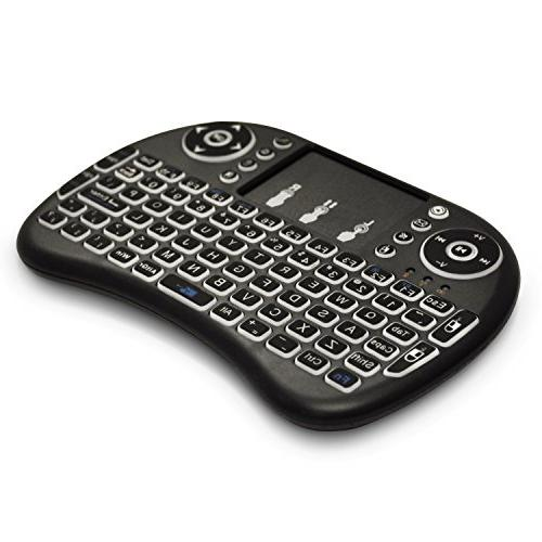 Universal 2.4Ghz Wireless Keyboard Chrome Mac 10 Computer or TV Box Rechargeable Battery -