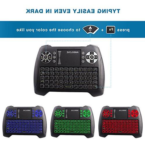 Backlit Wireless with Mouse and Multimedia Keys, Rechargable Handheld Remote Keyboard X-BOX, Android TV