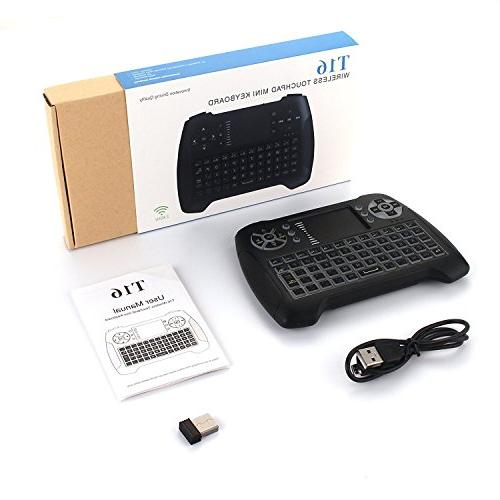 Backlit Wireless Mini with Touchpad and Multimedia 2.4Ghz Rechargable Remote Control Keyboard X-BOX, Android TV