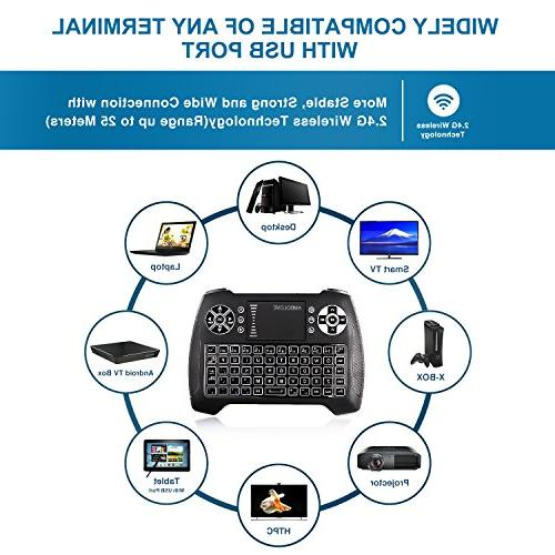 with Touchpad Multimedia Keys, Rechargable Handheld Remote Control Keyboard for PC, HTPC, X-BOX, Android TV
