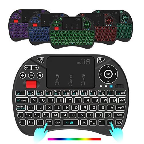 Rii X8 2.4GHz Mini Wireless Keyboard with Touchpad Mouse Combo, RGB Backlit, Li-ion