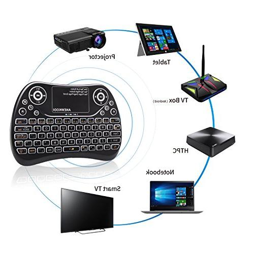 ANEWKODI Wireless Mini Keyboard Backlit with Mouse Combo, Multimedia Game Keyboard for PC,HTPC,Tablet,Smart