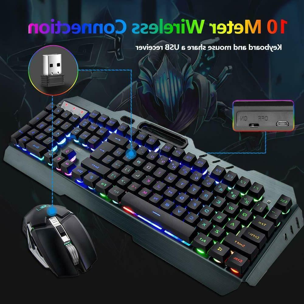 US Wireless Mouse,Rainbow LED Keyboard Mice