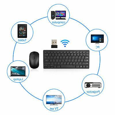 USB 2.4GHZ Slim Keyboard and Cordless Combo Kit Laptop PC