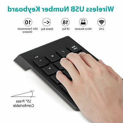 USB Wireless 18 Number Pad Numeric Keypad Keyboard Tablet