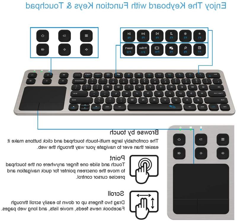 Wireless Arteck Touch TV Keyboard with Easy Media