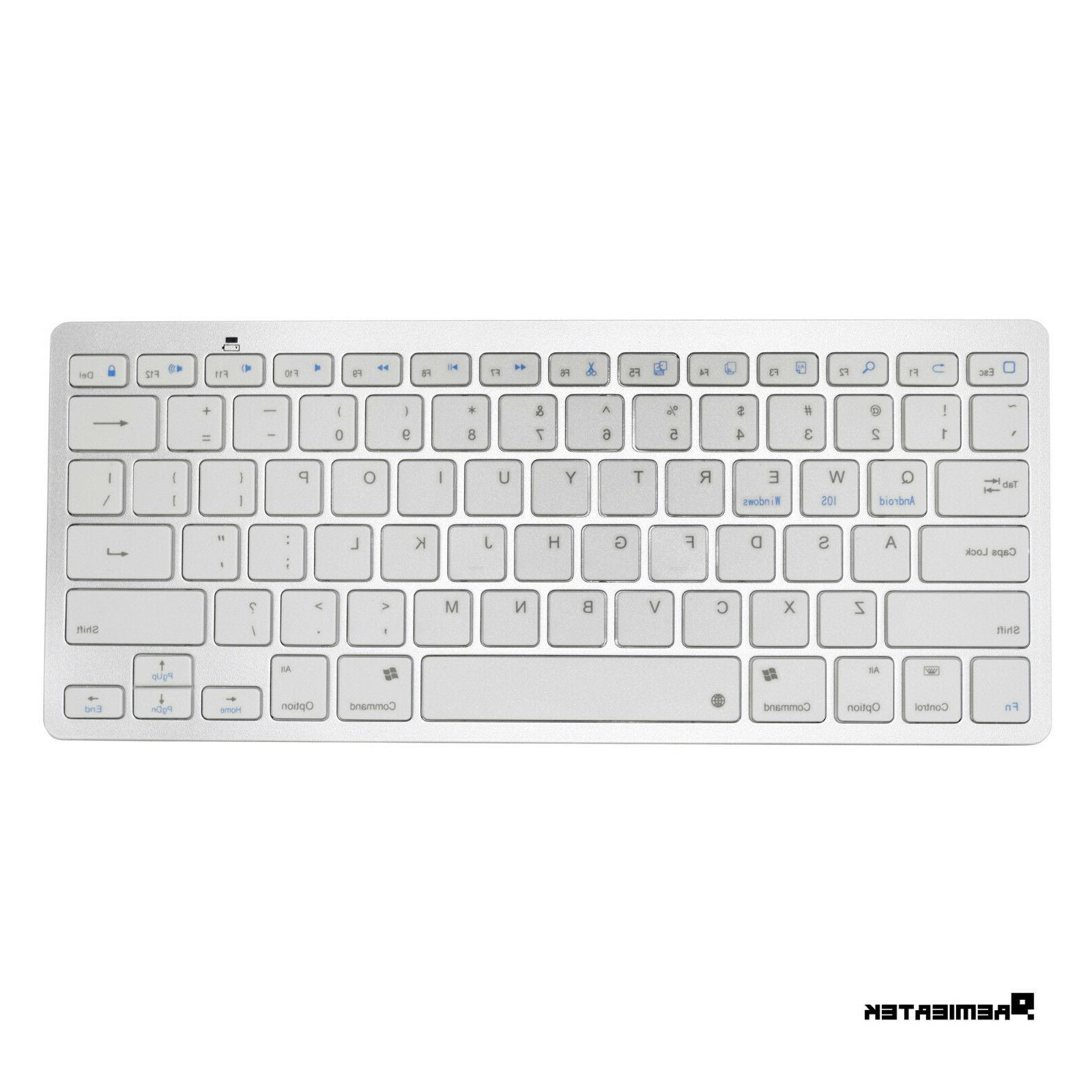 Premiertek Bluetooth Slim Keyboard PC/MAC/iOS/Android - Wireless Bluetooth Tablet, Smartphone, Computer - On/Off - - Silver