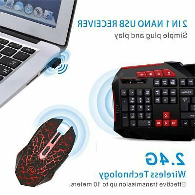 Wireless Keyboard&Mouse Combo 2.4G Rechargeable LED