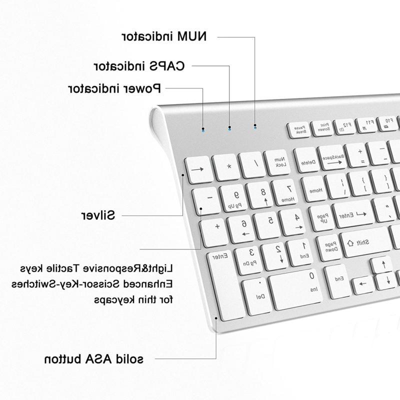 2.4G Mouse Combo Set Mac Apple Pc Size Slim Silve