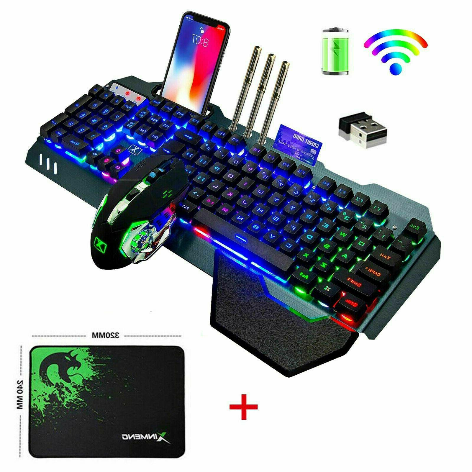 wireless keyboard and mouse rainbow led backlit