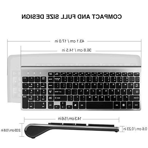 Wireless Keyboard Compact Full Size Less Keyboard and and High DPI PC,Desktop,Computer, Laptop, Windows by Black and Gray