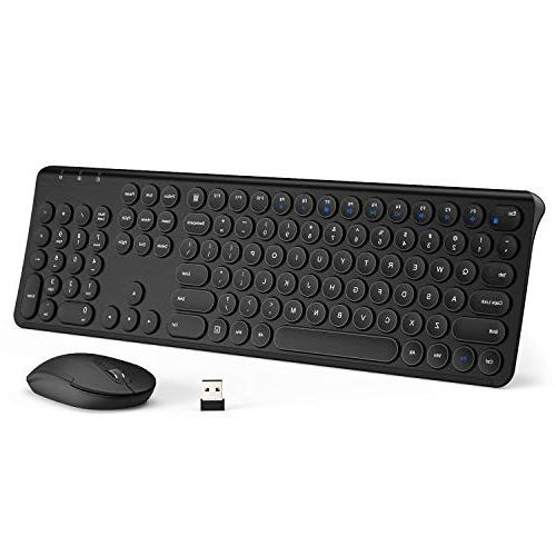 iClever Wireless Keyboard and Mouse Combo - 2 4G Portable Wireless Keyboard  Mouse, Rechargeable Battery Ergonomic Design Full Size Slim Aluminum Round