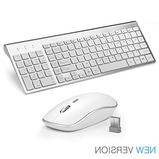 Wireless Keyboard Mouse Combo Full Size Whisper Quiet Compac