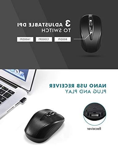 Mpow Wireless Mouse Ultra-Thin Chiclet Keyboard and Mute 2.4GHz Wireless with USB PC Desktop Computer Mac
