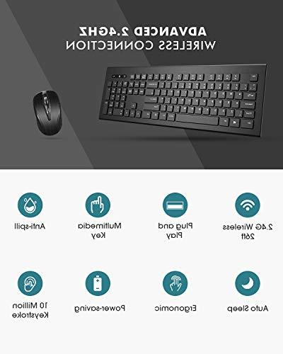 Mpow Wireless Keyboard and Mouse Ultra-Thin Keyboard 2.4GHz with USB Mac Tablet