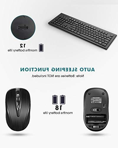 Mpow Wireless Keyboard and Mouse Keyboard 2.4GHz 26ft Wireless Connection with USB Mac