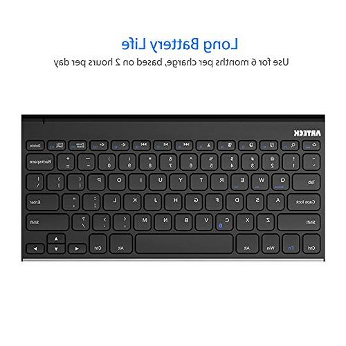 Arteck Wireless Keyboard Stainless Keyboard and / 7 in Rechargeable Battery
