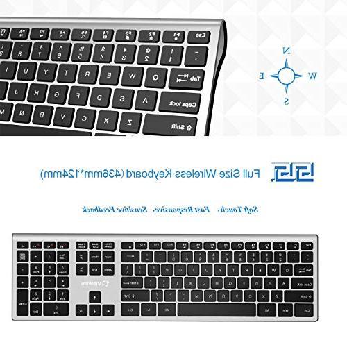 Vitalitim Wireless Keyboard Slim Keyboard, Connection, with 110 Key Keyboards,Compatible with Mac/Windows XP/7/8/10/VISTA