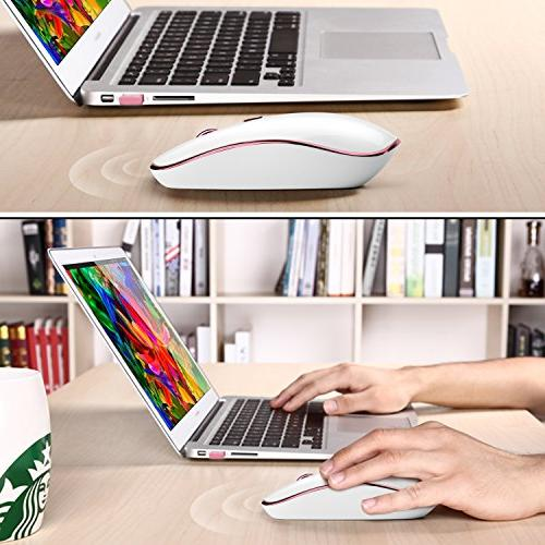 JOYACCESS Click with Receiver, Precision 2400 DPI 5 Adjustable Notebook, PC, MacBook-White + Rosy Gold