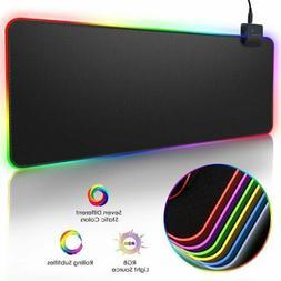 Non-Slip PC Computer RGB Desktop Mouse Mat Pad Wireless Gami