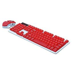SODIAL2.4GHz Portable Cool Red Wireless Keyboard and Mouse C