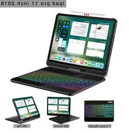 For iPad Pro 11 2018 case keyboard wireless backlit 360 rota