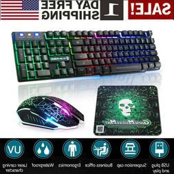 Rainbow Gaming Keyboard and Mouse Set Backlight Ergonomic Us