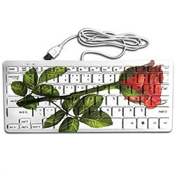 Red Flirtatious Roses Printed PC USB Keyboard Portable 78 Ke