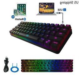 RGB Bluetooth Wireless Gaming Keyboard 63 Keys for PC IOS An