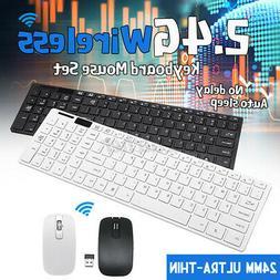 Slim 2.4GHz Wireless Keyboard Keypads & Mouse Combo Desktop