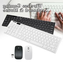 Slim Wireless Keyboard Mouse Set USB Receiver For Windows /