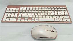 Stylish Compact Full-Size Wireless Keyboard & 2400 DPI Strea