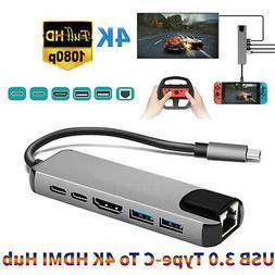 Aluminum Dual USB 3.0 Type-C To 4K HDMI Hub Adapter PD RJ45
