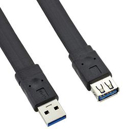 USB3.0 Extension Cable, Flat USB 3.0 Type A Male to A Female