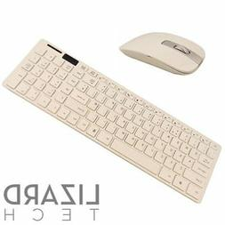White Slim Wireless 2.4GHz USB Keyboard and Mouse Set for HP