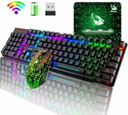 Wireless Gaming Keyboard Mouse Combo Rainbow LED Backlit Rec
