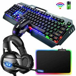 Wireless Gaming Keyboard Mouse + Headset + RGB Pad LED Backl