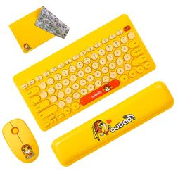 FD Wireless Keyboard and Mouse Combo, FOPATO Yellow Cordless