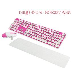 Wireless Keyboard and Mouse Combo, 2.4GHz Cordless Cute Roun