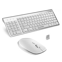 Wireless Keyboard and Mouse Combo, FENIFOX Full-Size Whisper