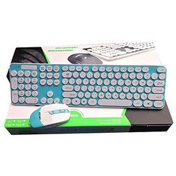 Wireless Keyboard and Mouse Combo Silent Click Round Key Key