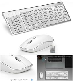 Wireless Keyboard Mouse Super Thin Silver Portable Quiet Sil