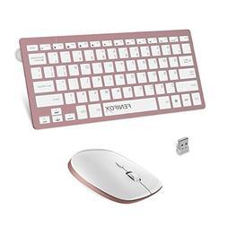 FENIFOX Wireless Keyboard and Mouse, 2.4G USB Small Mini Thi